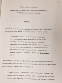 Digital scan of meeting minutes for the revised plans for equalizing educational opportunity in public higher education in Florida
