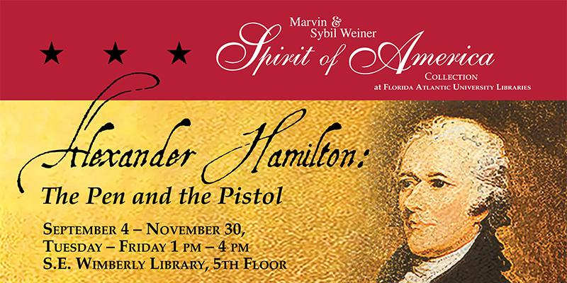 Graphic image depicting Alexander Hamilton with information about the exhibition
